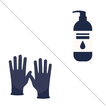 Handschuhe und handgel