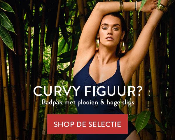 Curvy Figuur - Badpak met plooien en hoge slips