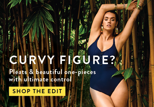 CURVY FIGURE? Swimsuit with pleats and high-cut briefs